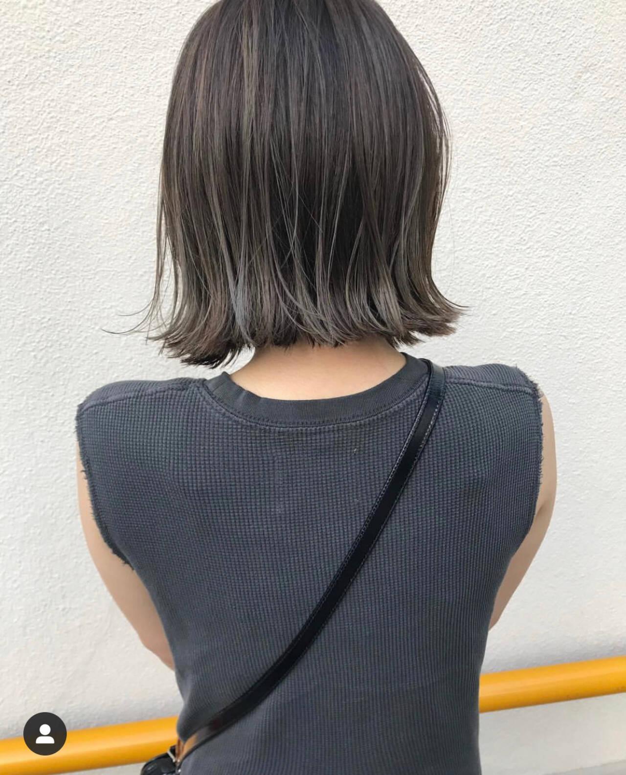 ミニボブ 切りっぱなしボブ ナチュラル ボブヘアスタイルや髪型の写真・画像