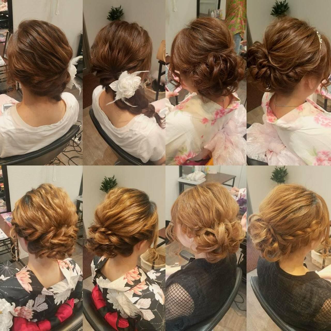 夏 編み込み セミロング お祭りヘアスタイルや髪型の写真・画像