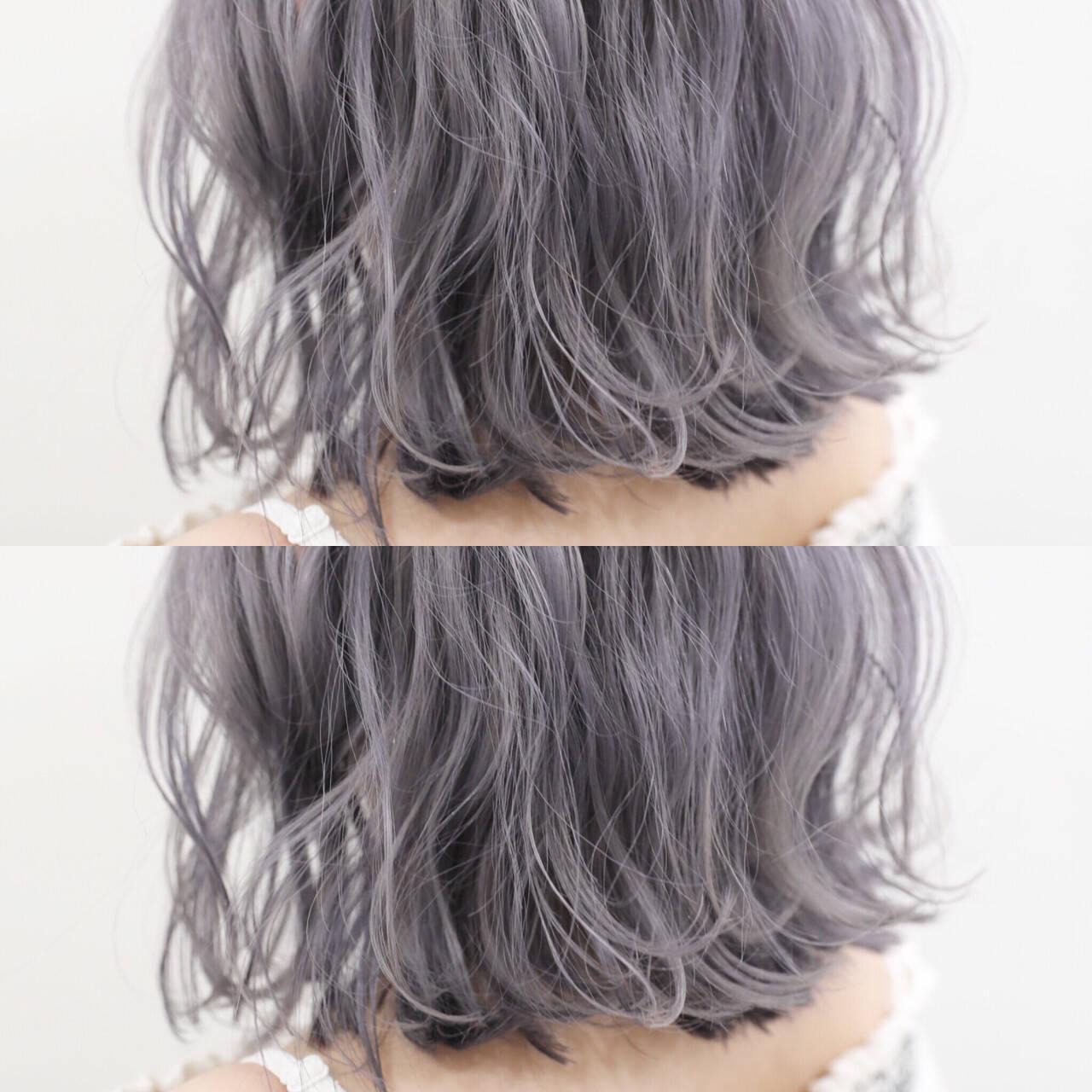 モード ボブ シルバーアッシュ ホワイトアッシュヘアスタイルや髪型の写真・画像
