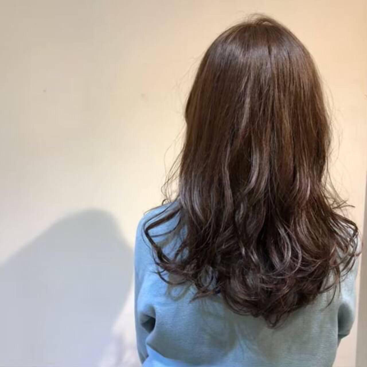 ナチュラル ロング 暗髪 ブルーアッシュヘアスタイルや髪型の写真・画像