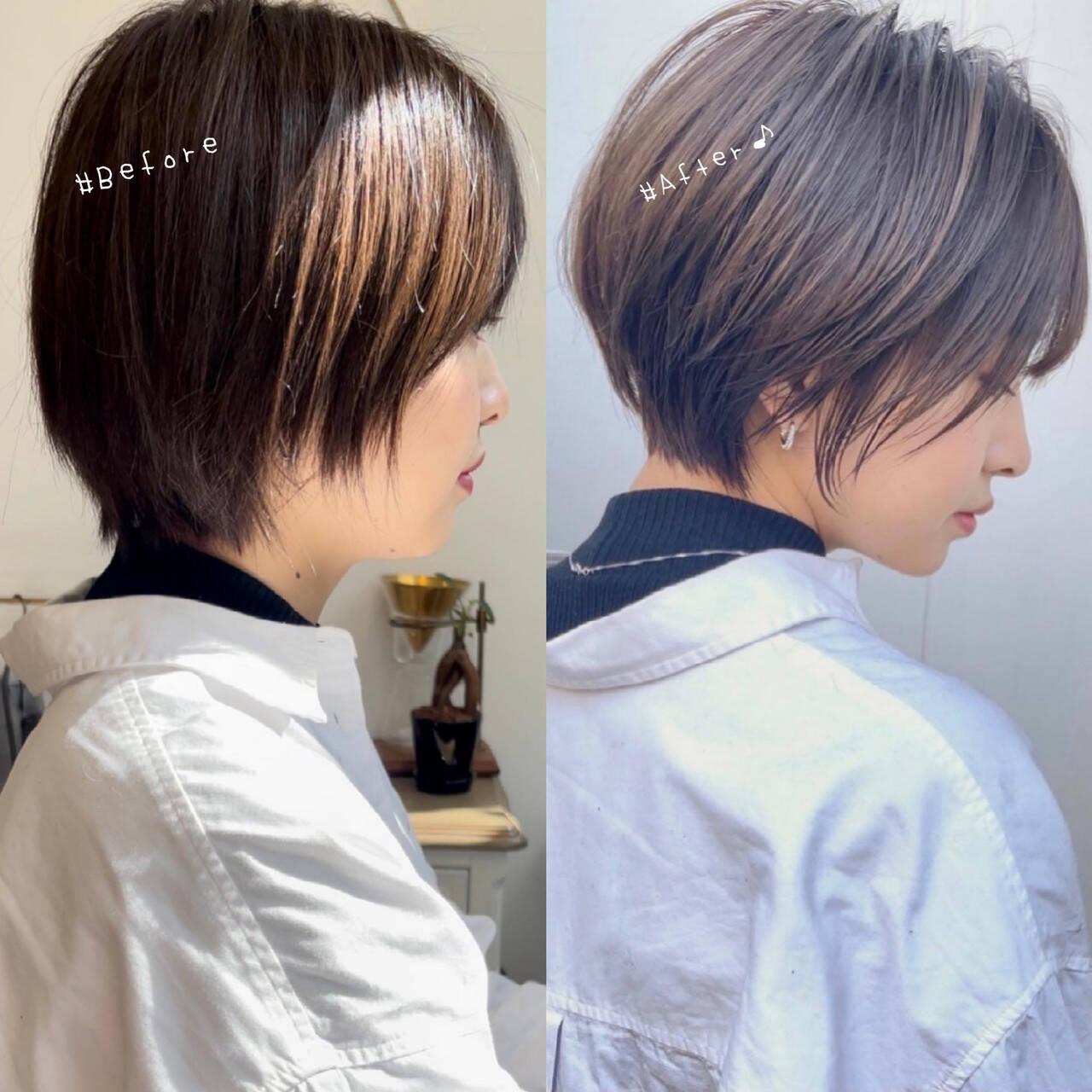 ハンサムショート ショートカット ミニボブ ショートヘアヘアスタイルや髪型の写真・画像