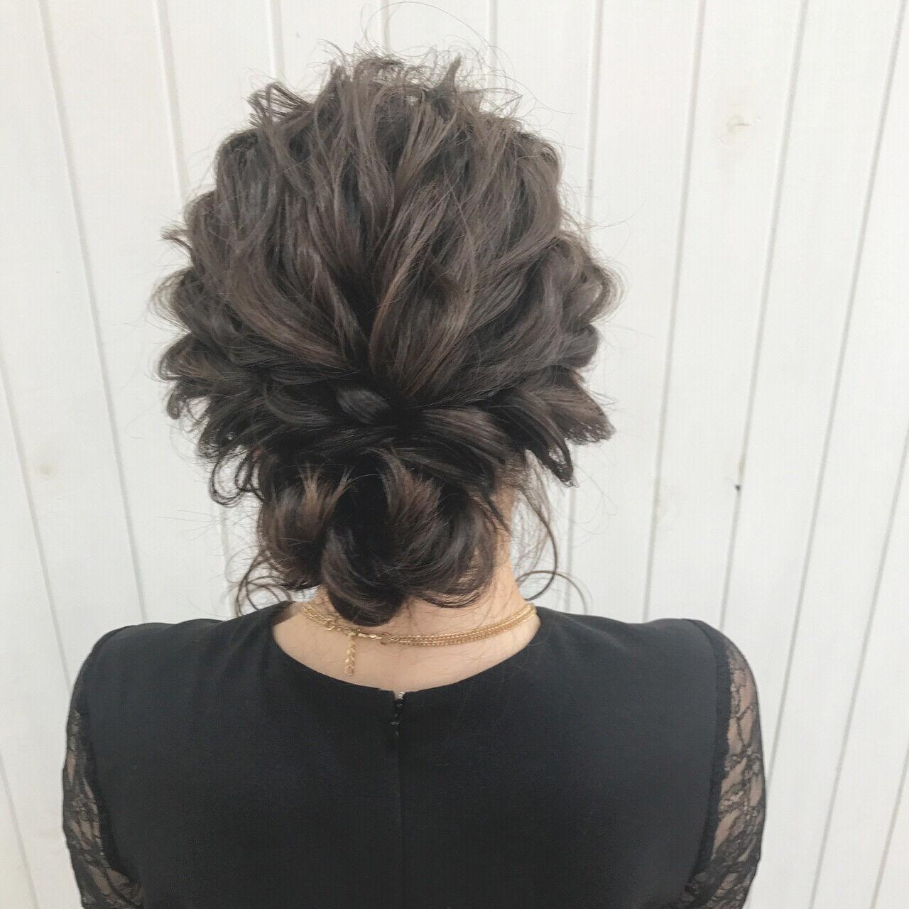 女子会 ヘアアレンジ 結婚式 ミディアムヘアスタイルや髪型の写真・画像