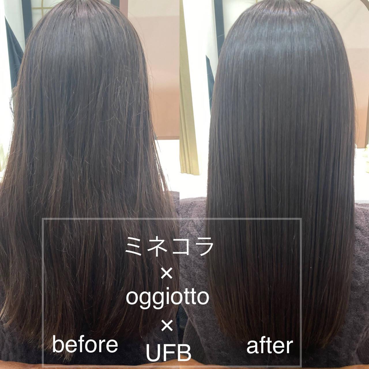 ロング ナチュラル 髪質改善トリートメント サラサラヘアスタイルや髪型の写真・画像