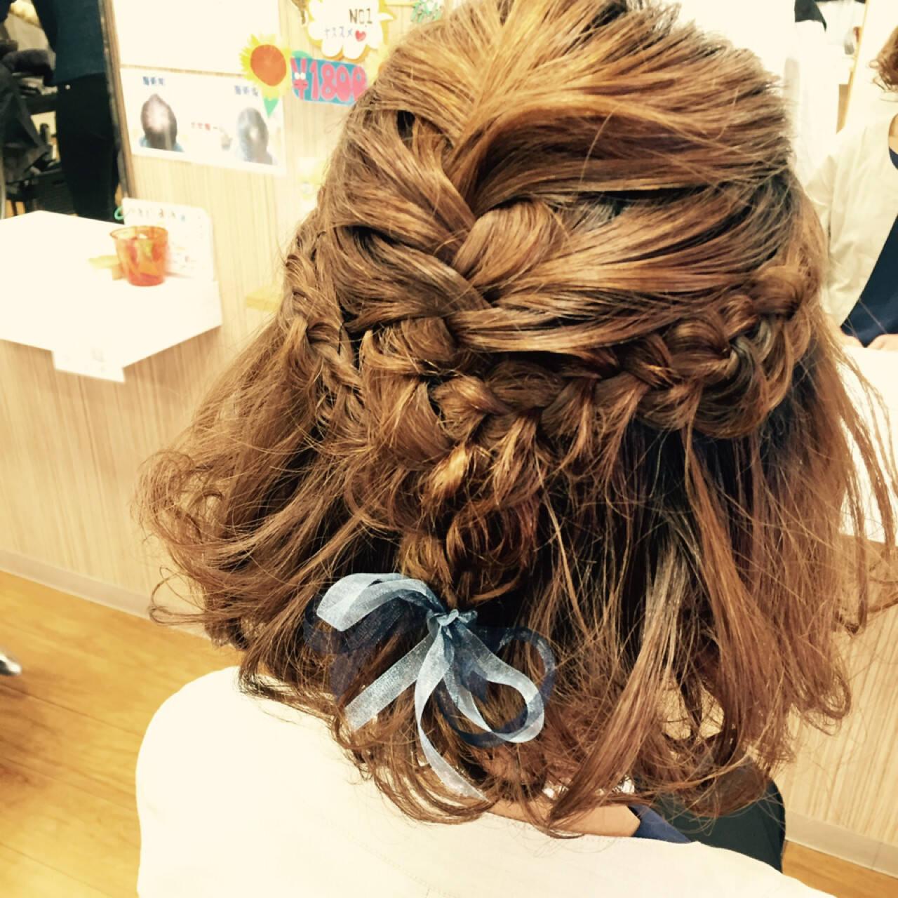 結婚式 ハーフアップ 二次会 ヘアアレンジヘアスタイルや髪型の写真・画像