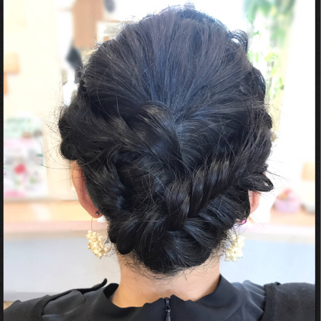 ロング 編み込み ナチュラル 黒髪ヘアスタイルや髪型の写真・画像