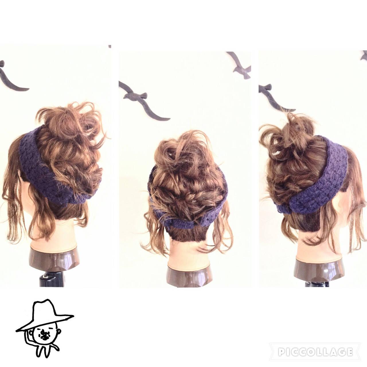 ヘアアクセ ねじり 編み込み お団子ヘアスタイルや髪型の写真・画像