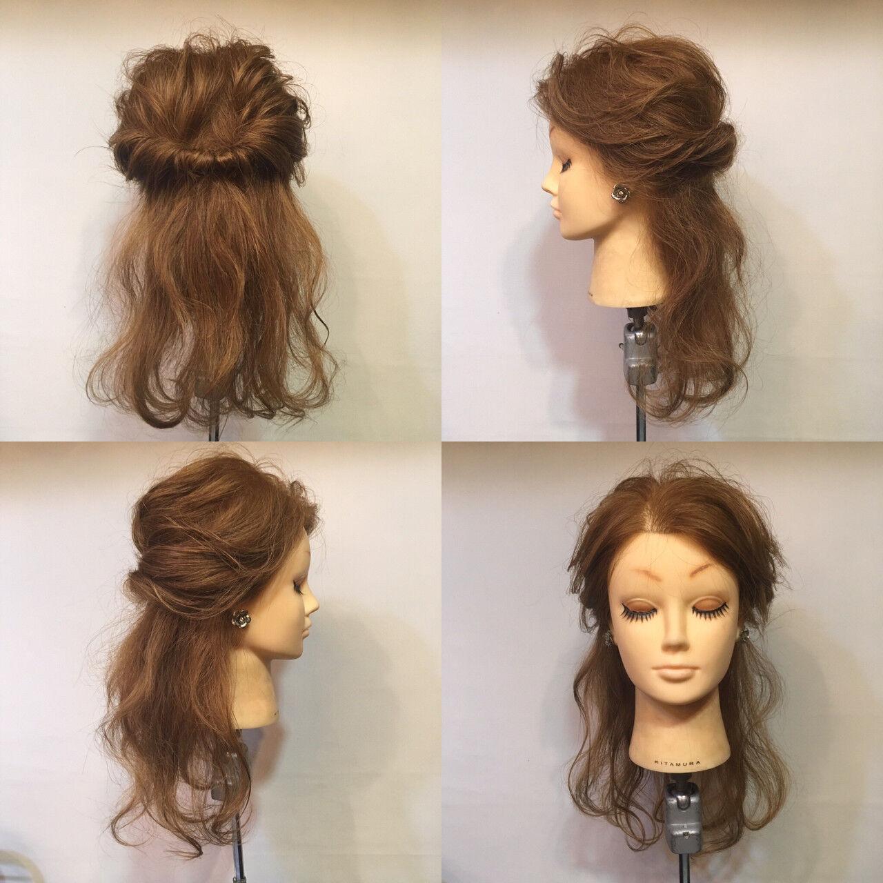 ヘアアレンジ ハーフアップ セミロング 波ウェーブヘアスタイルや髪型の写真・画像