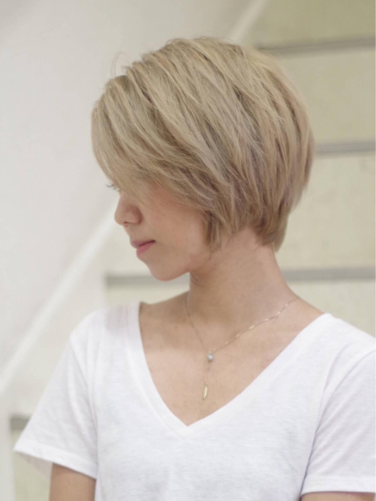 小顔 似合わせ ハイトーン ショートボブヘアスタイルや髪型の写真・画像