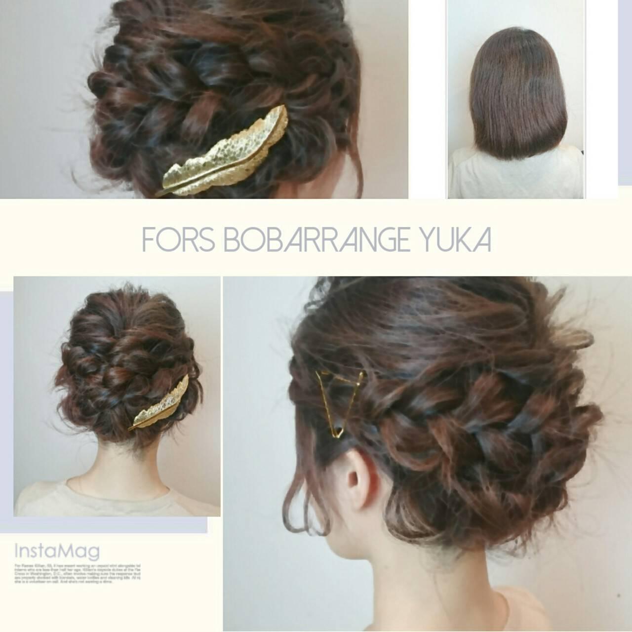 ナチュラル ヘアアレンジ ボブ 結婚式ヘアスタイルや髪型の写真・画像
