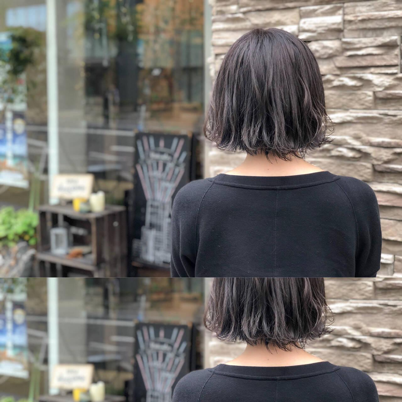 ヘアアレンジ ボブ ショート アッシュベージュヘアスタイルや髪型の写真・画像