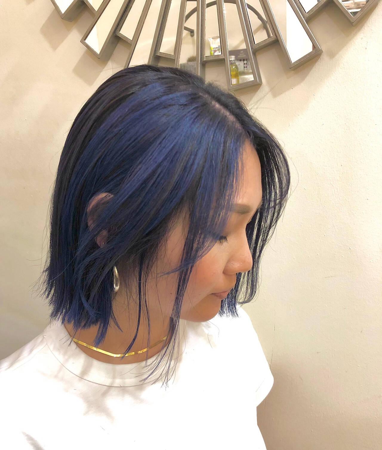 ハイライト ユニコーンカラー ストリート ボブヘアスタイルや髪型の写真・画像