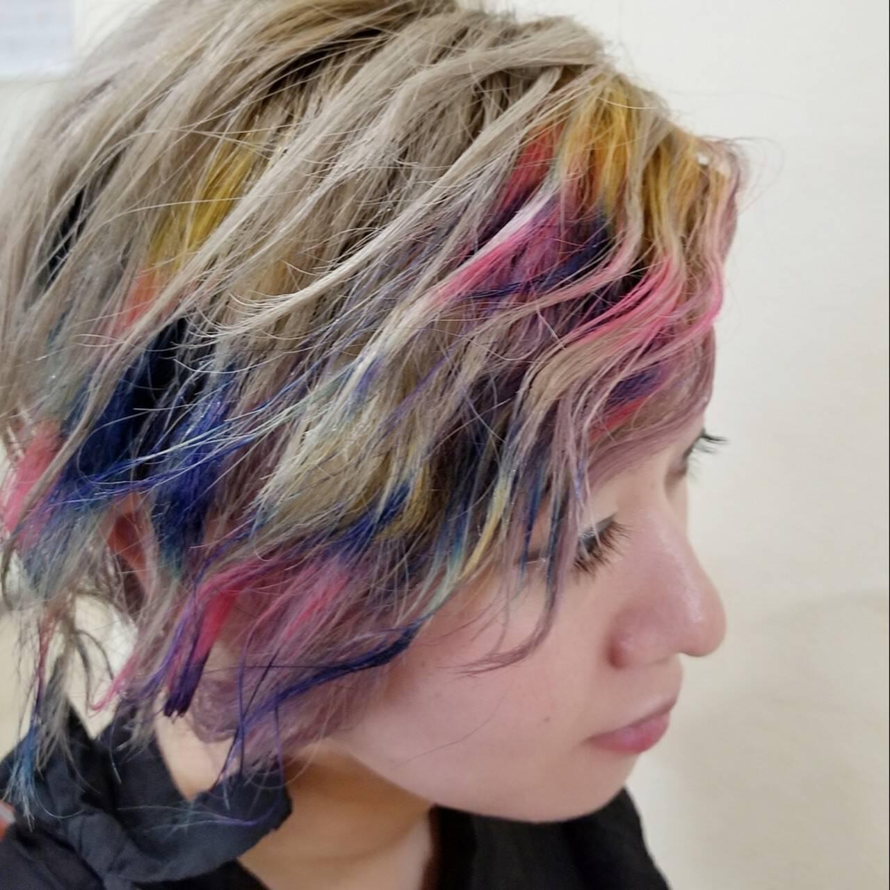 刈り上げ ブリーチ ショート モードヘアスタイルや髪型の写真・画像