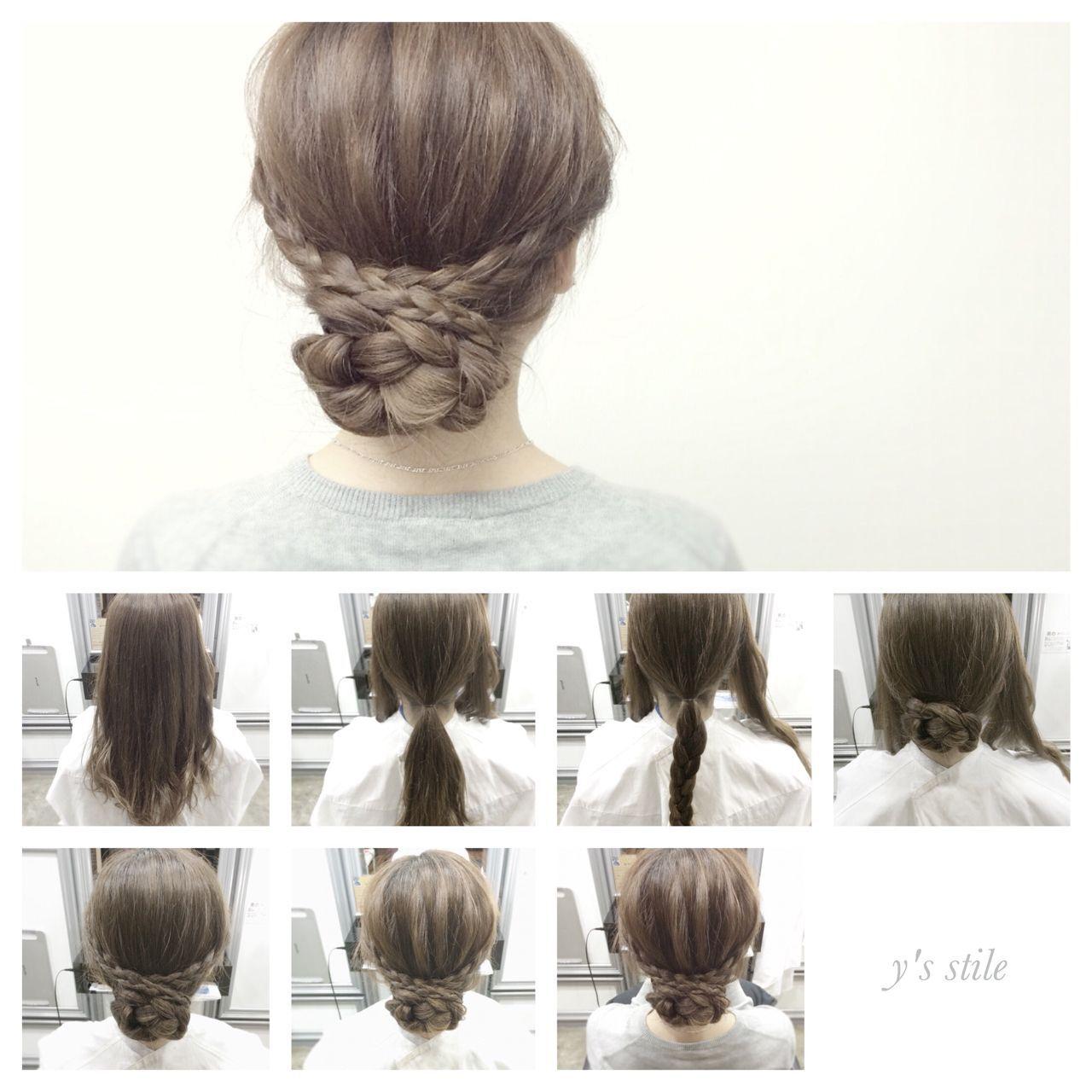 アップスタイル ミディアム ナチュラル ヘアアレンジヘアスタイルや髪型の写真・画像