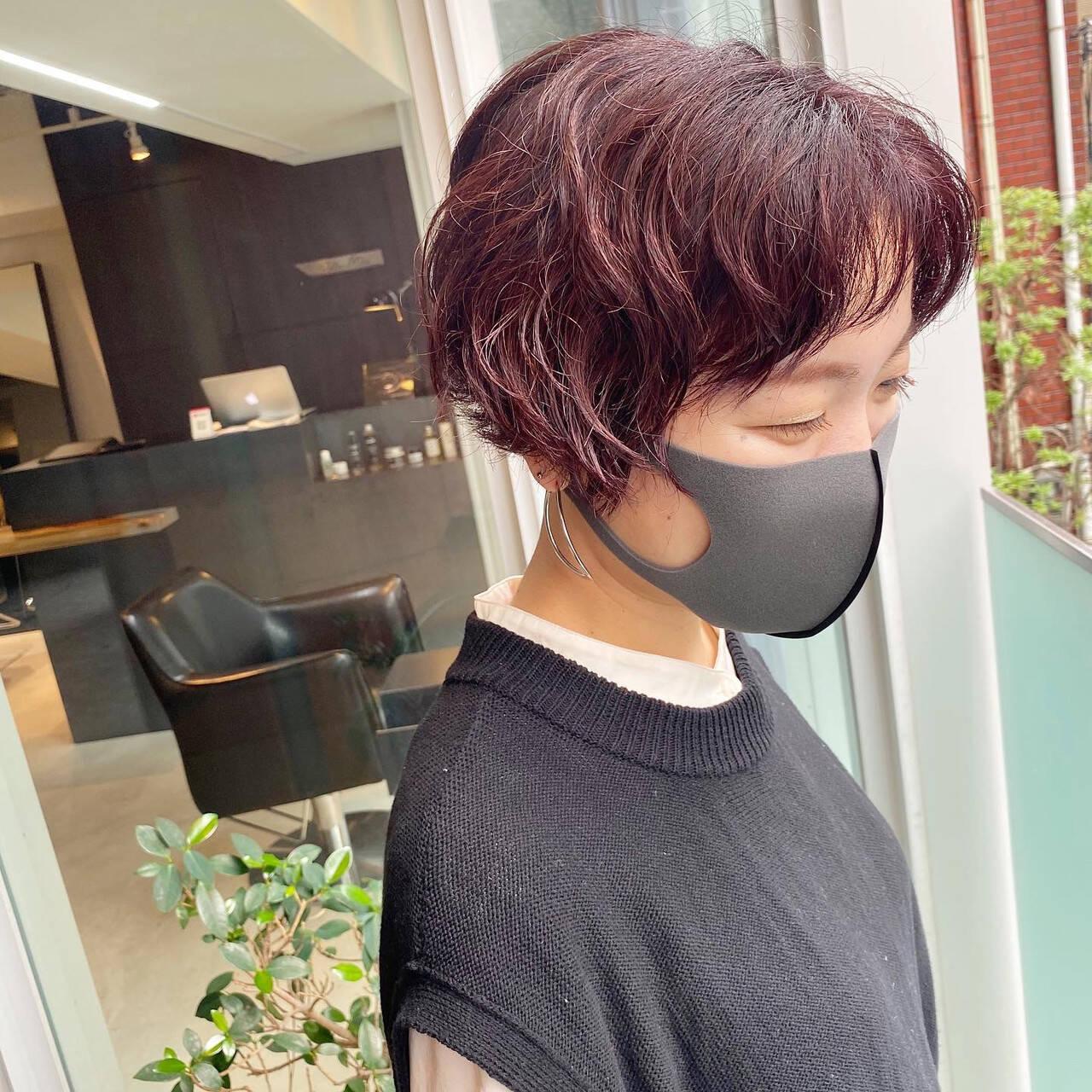 レッドカラー ストリート ハンサムショート くせ毛ヘアスタイルや髪型の写真・画像