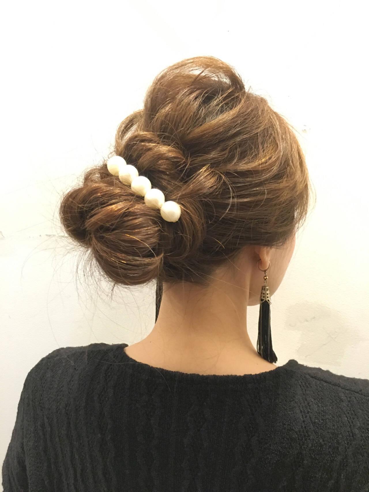 大人女子 くるりんぱ 簡単ヘアアレンジ 結婚式ヘアスタイルや髪型の写真・画像