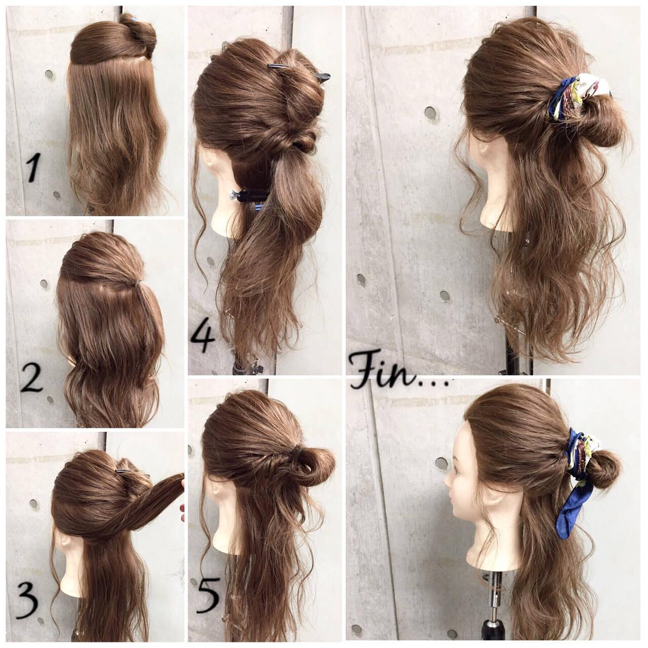 セミロング ヘアアクセ 簡単ヘアアレンジ ヘアアレンジヘアスタイルや髪型の写真・画像