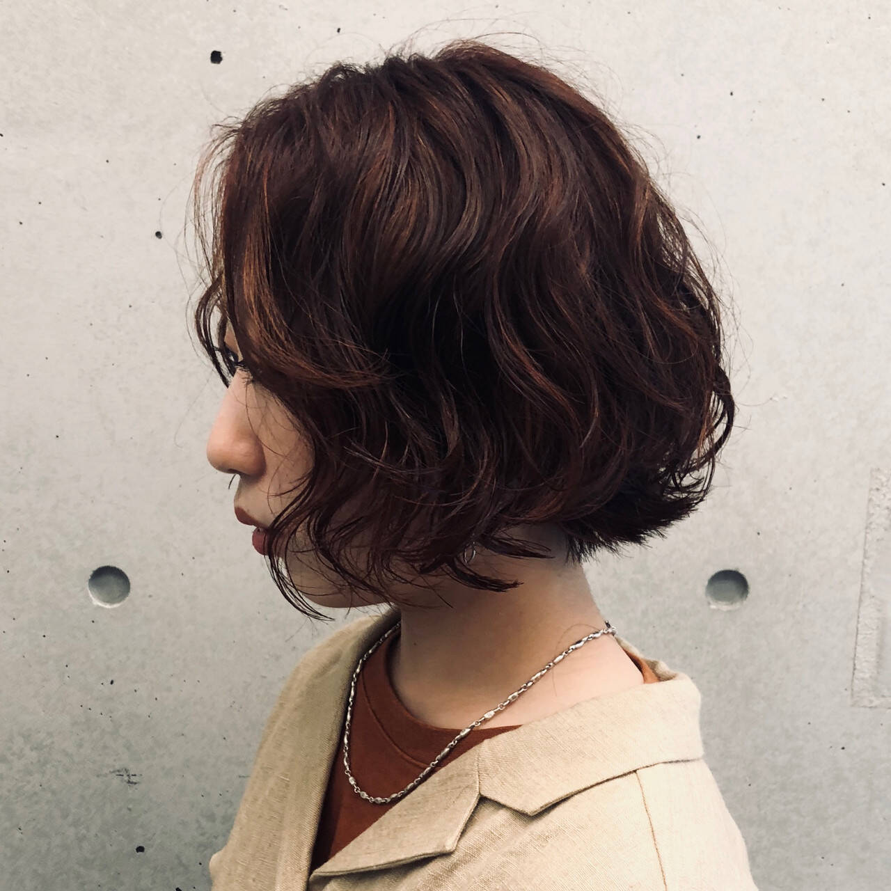 パーマ ボブ  外ハネボブヘアスタイルや髪型の写真・画像