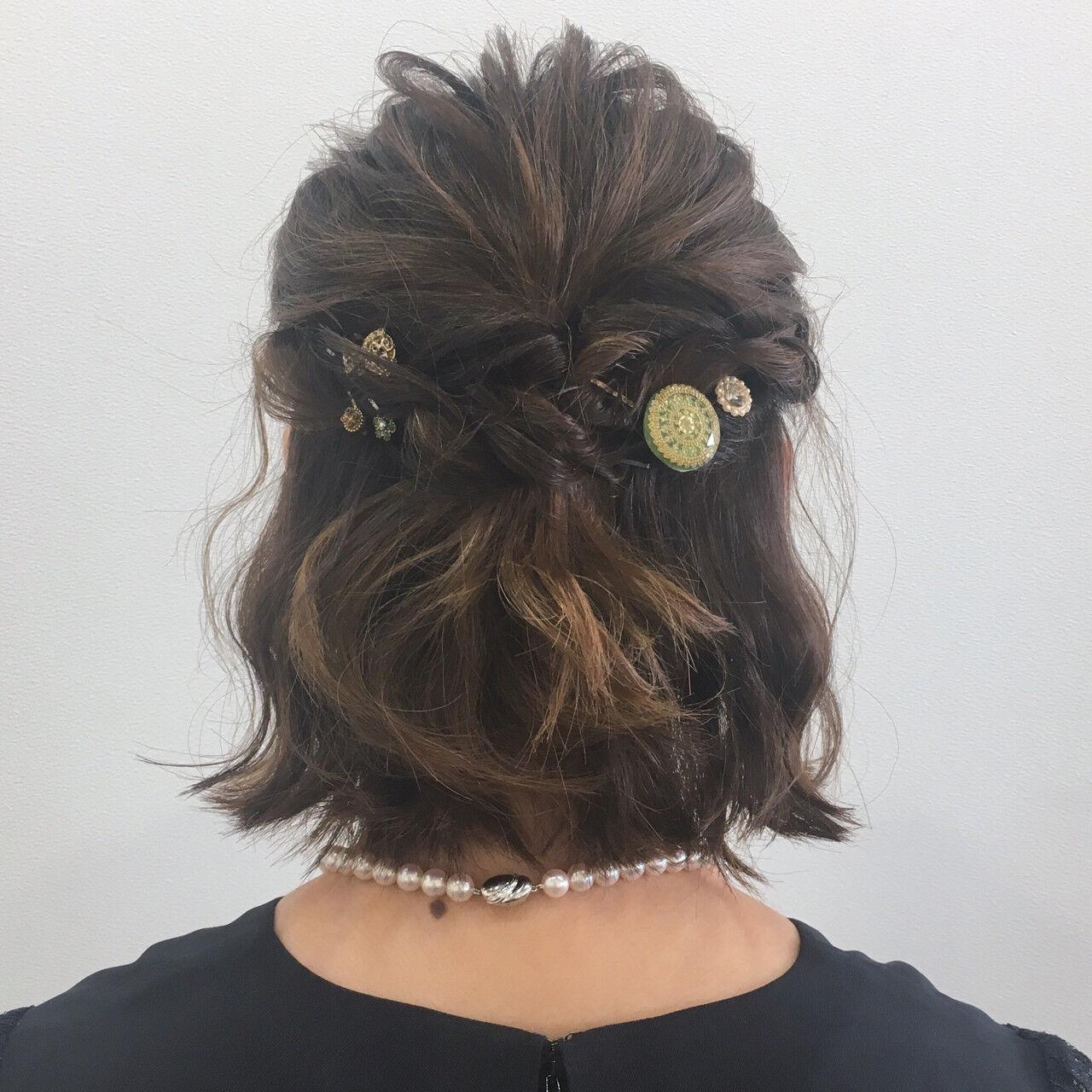 ゆるふわ ハーフアップ ヘアアレンジ ナチュラルヘアスタイルや髪型の写真・画像