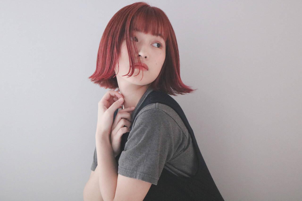 切りっぱなしボブ ショートボブ ボブ ミニボブヘアスタイルや髪型の写真・画像