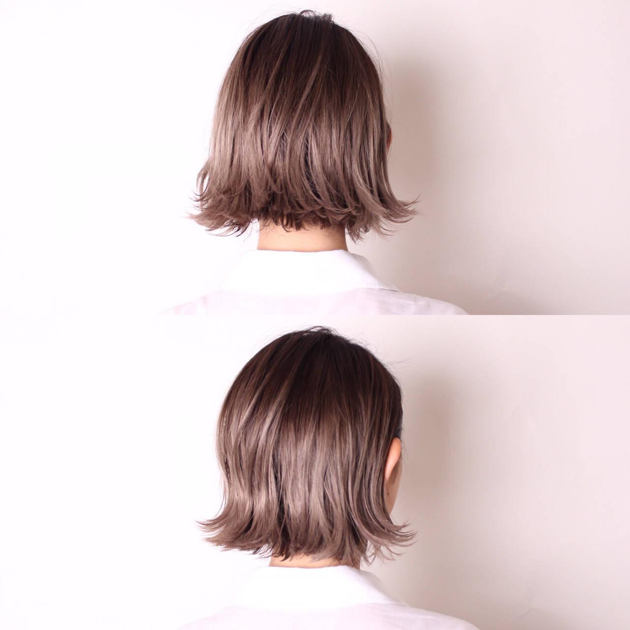 ボブ 外国人風 外ハネ ダブルカラーヘアスタイルや髪型の写真・画像