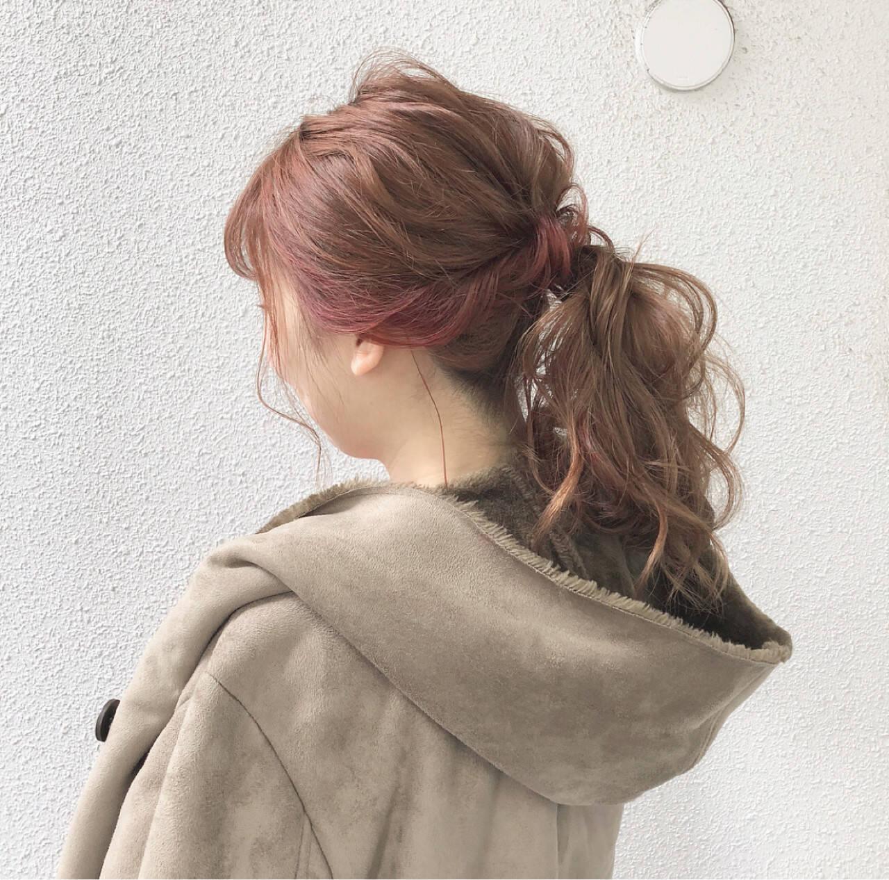 ポニーテール デート ナチュラル ヘアアレンジヘアスタイルや髪型の写真・画像