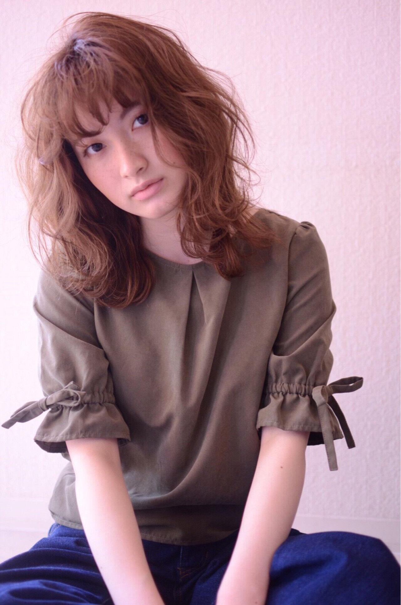 ゆるふわ 外国人風カラー ウェーブ 外国人風ヘアスタイルや髪型の写真・画像