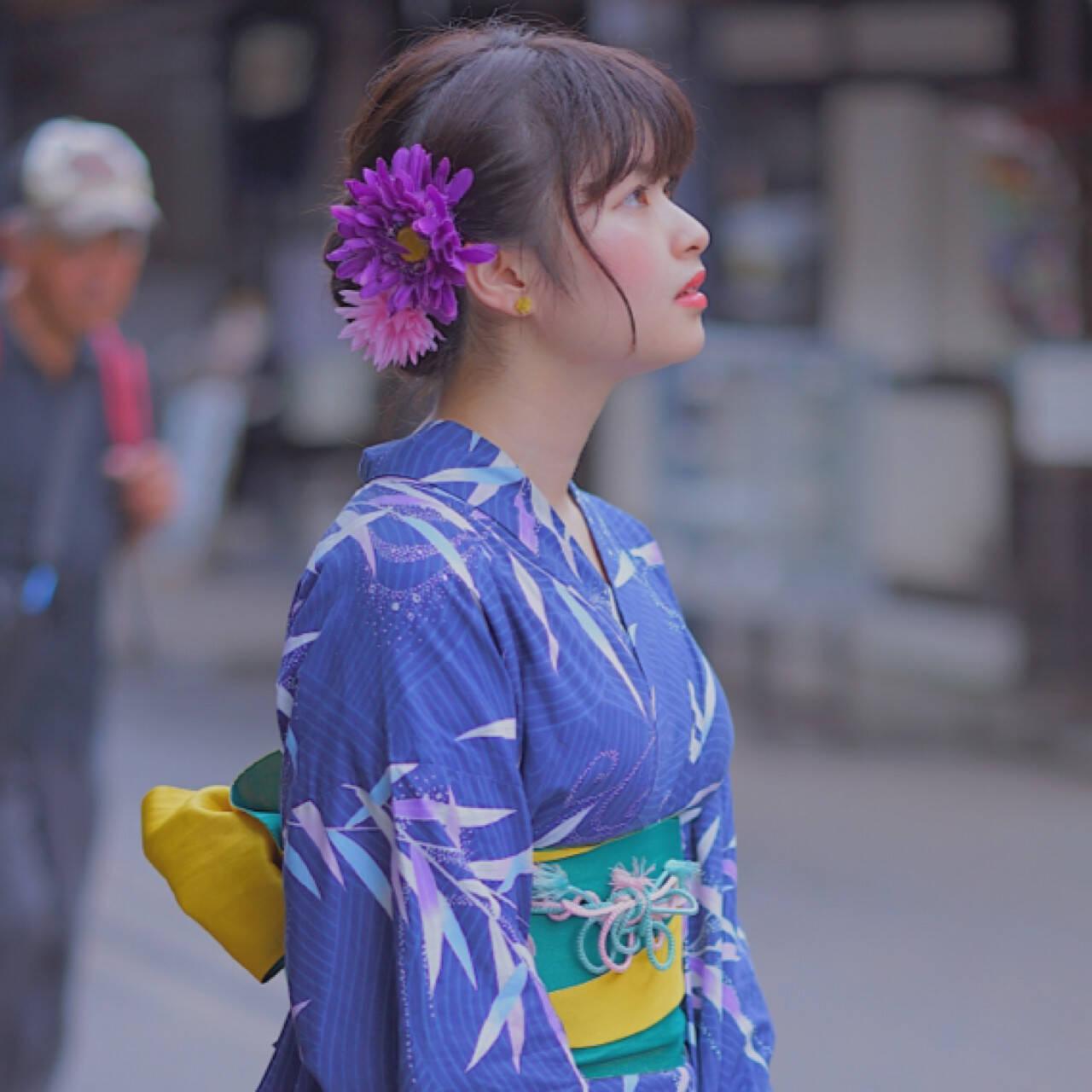 夏 色気 和装 お祭りヘアスタイルや髪型の写真・画像