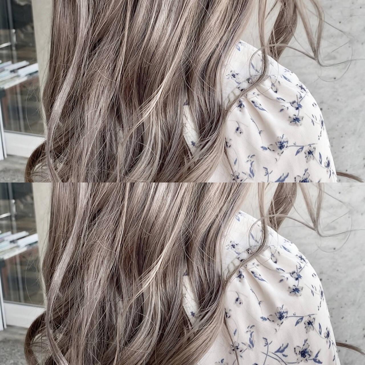 ミルクティーベージュ セミロング 透明感カラー グレージュヘアスタイルや髪型の写真・画像