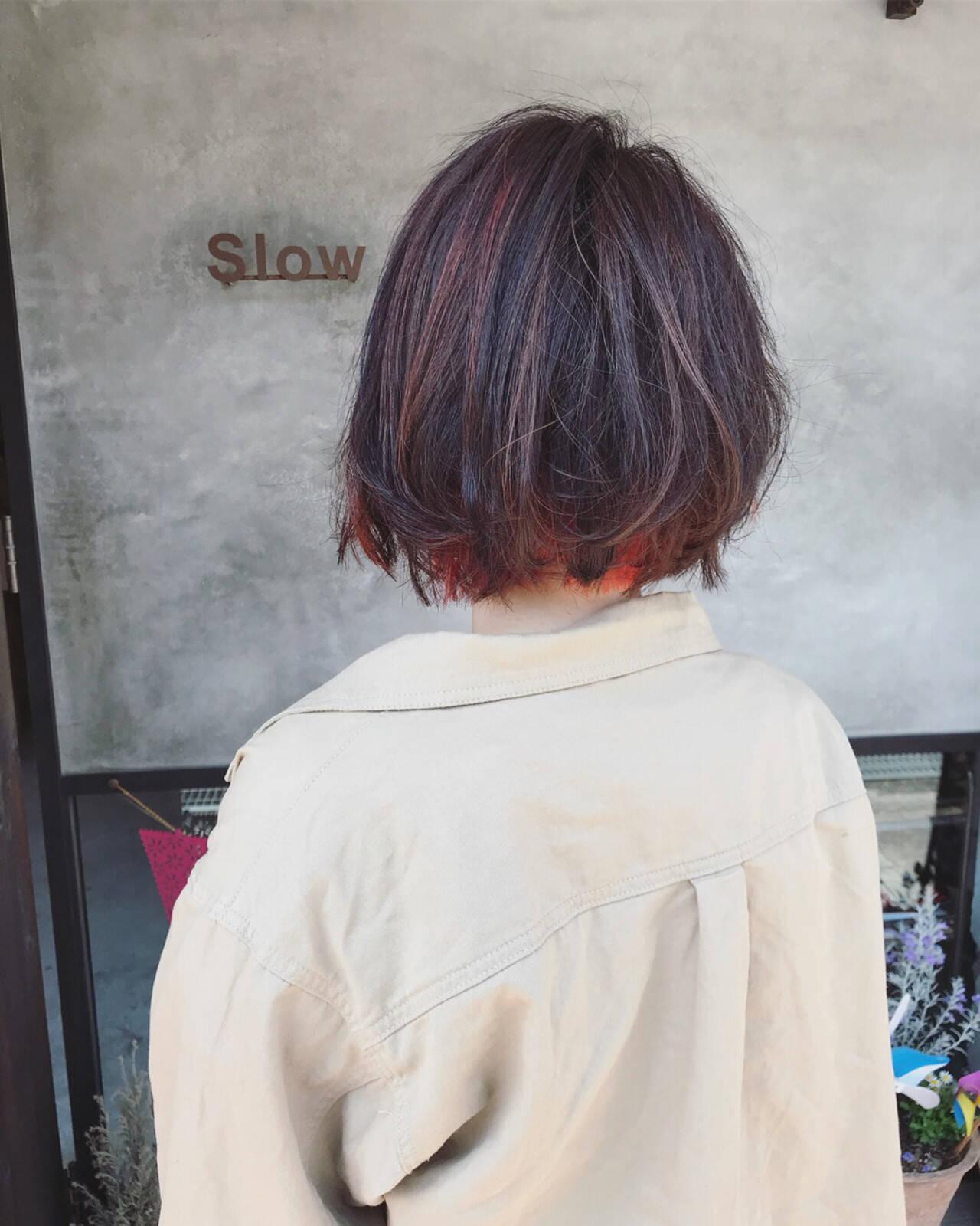 ハイライト ボブ ストリート レッドヘアスタイルや髪型の写真・画像