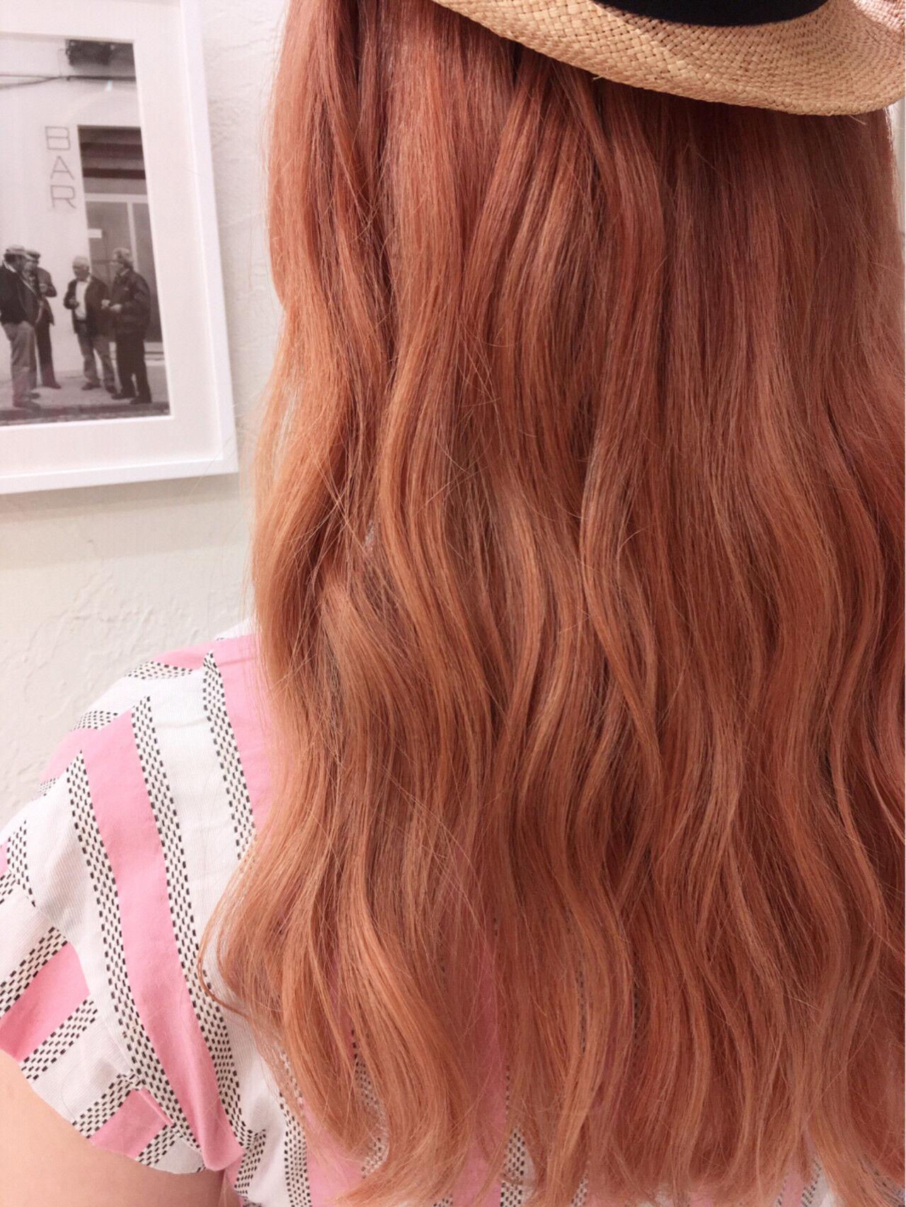 オレンジ ロング ガーリー 外国人風ヘアスタイルや髪型の写真・画像
