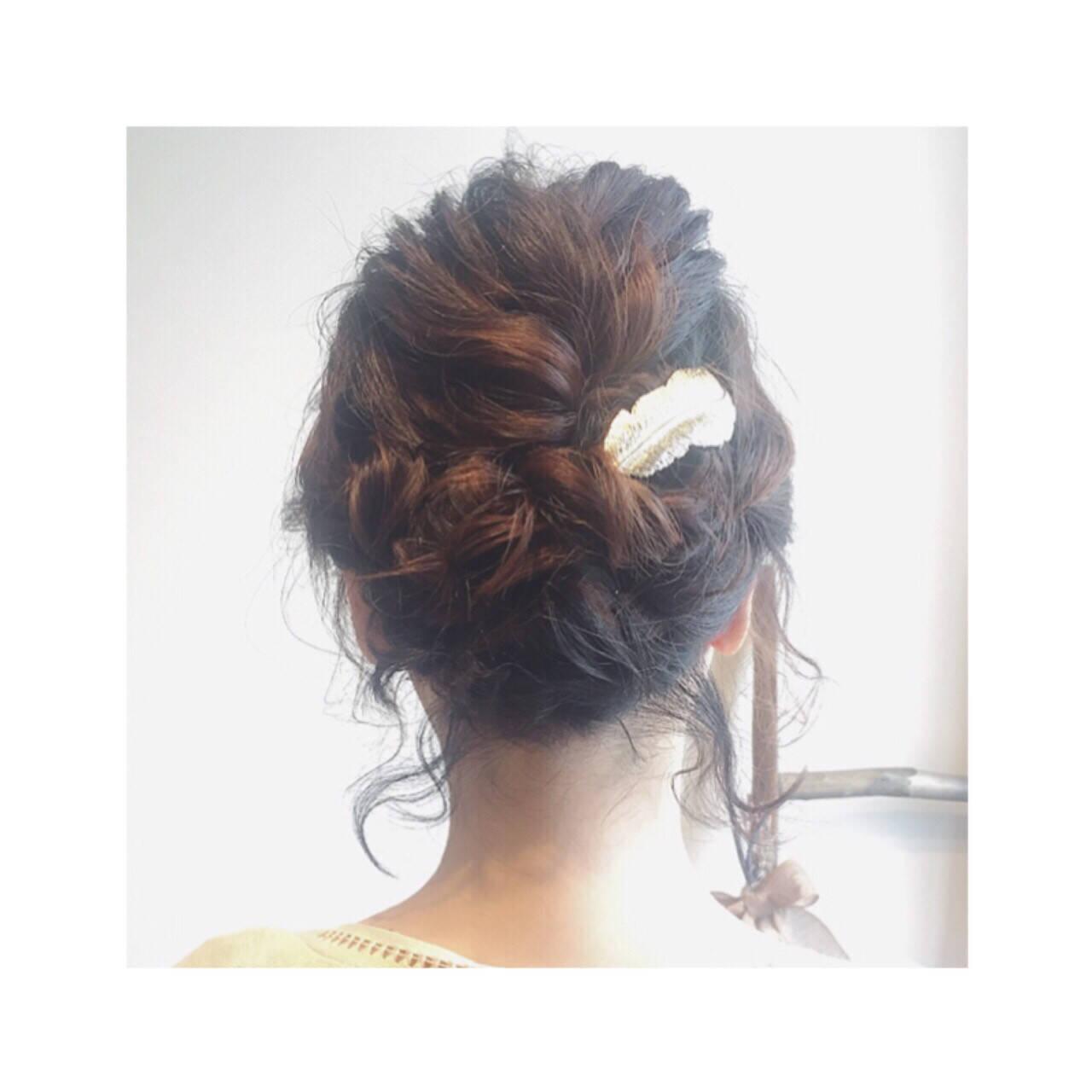 大人かわいい ゆるふわ ロープ編み ツイストヘアスタイルや髪型の写真・画像
