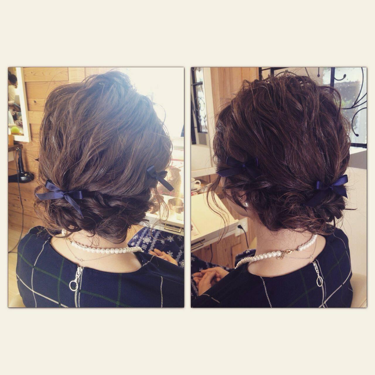 編み込み ミディアム パーティ 結婚式ヘアスタイルや髪型の写真・画像