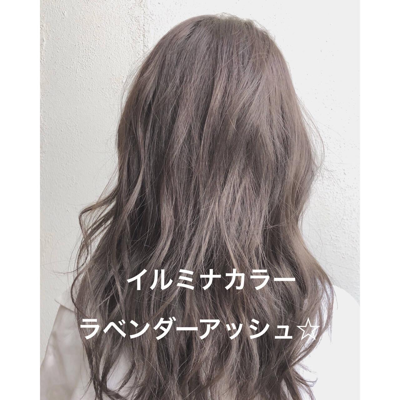 パーマ イルミナカラー セミロング ゆるふわヘアスタイルや髪型の写真・画像