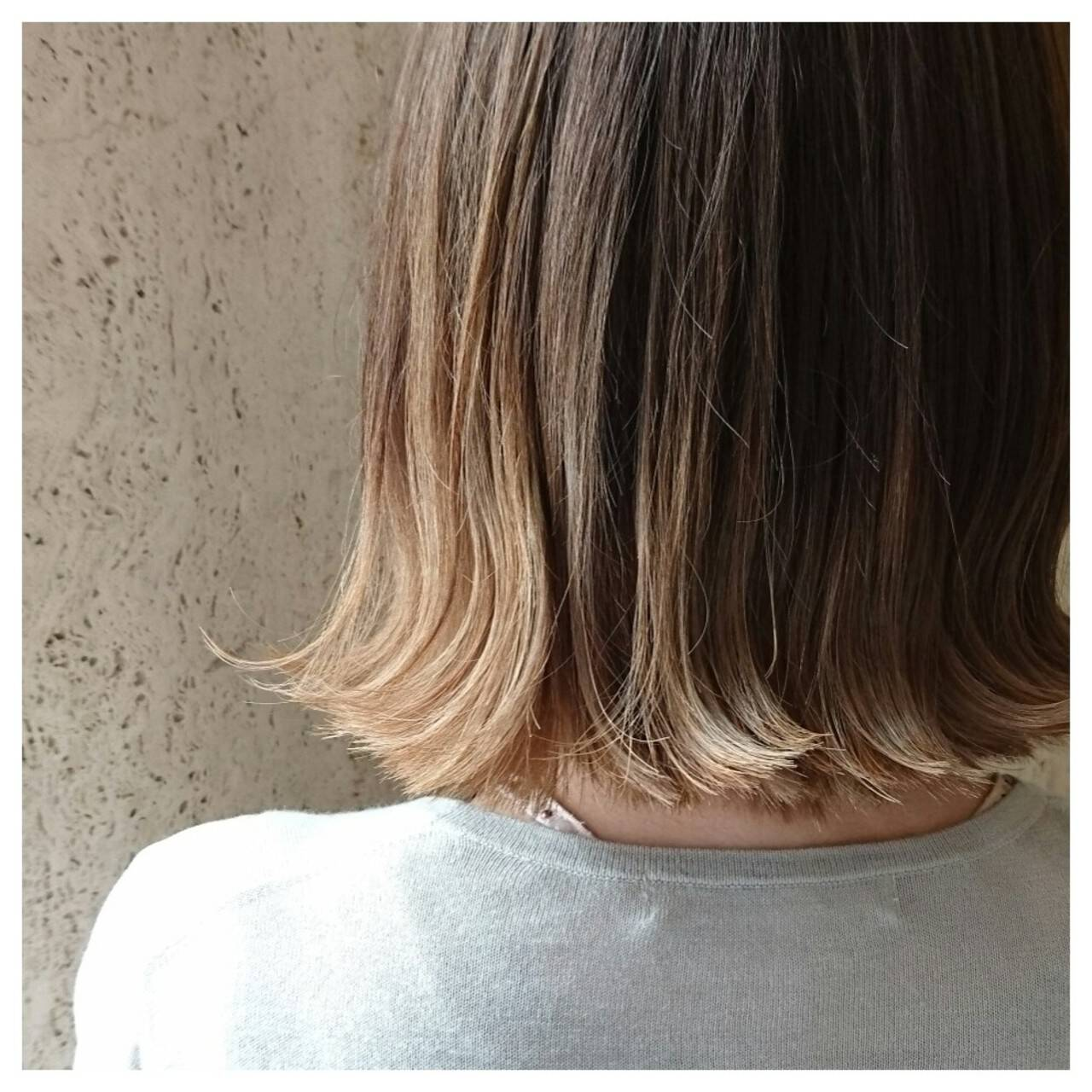 ボブ ストレート グラデーションカラー イルミナカラーヘアスタイルや髪型の写真・画像