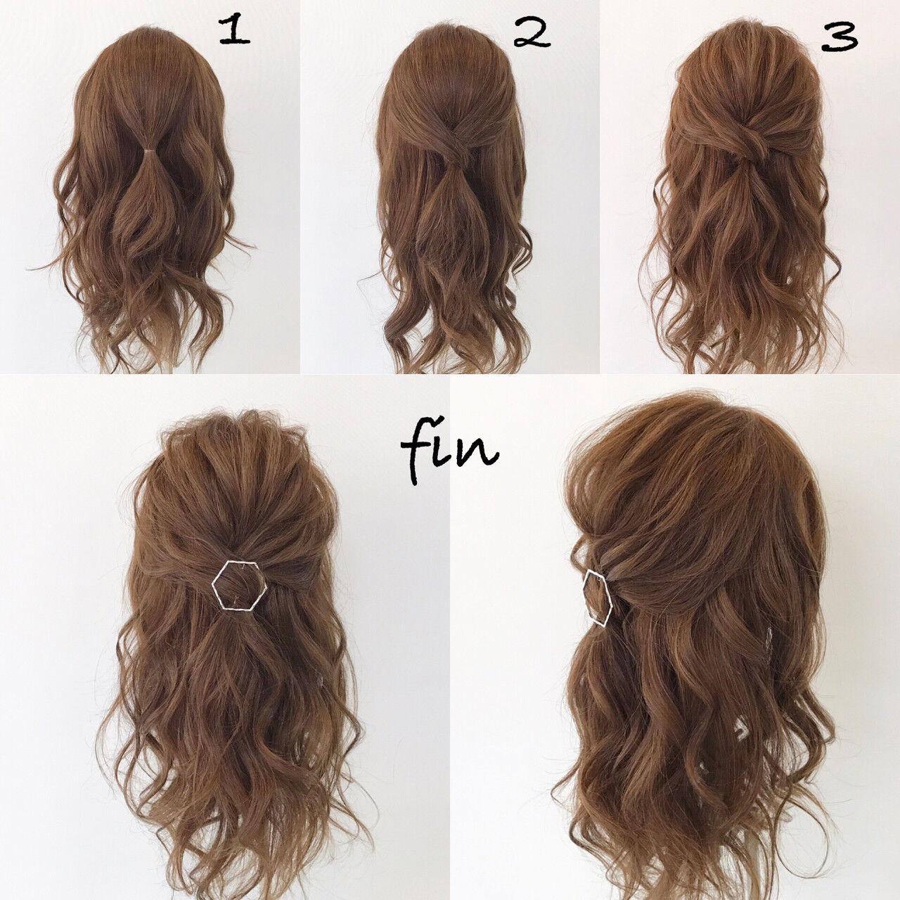 結婚式 ロング 簡単ヘアアレンジ ナチュラルヘアスタイルや髪型の写真・画像