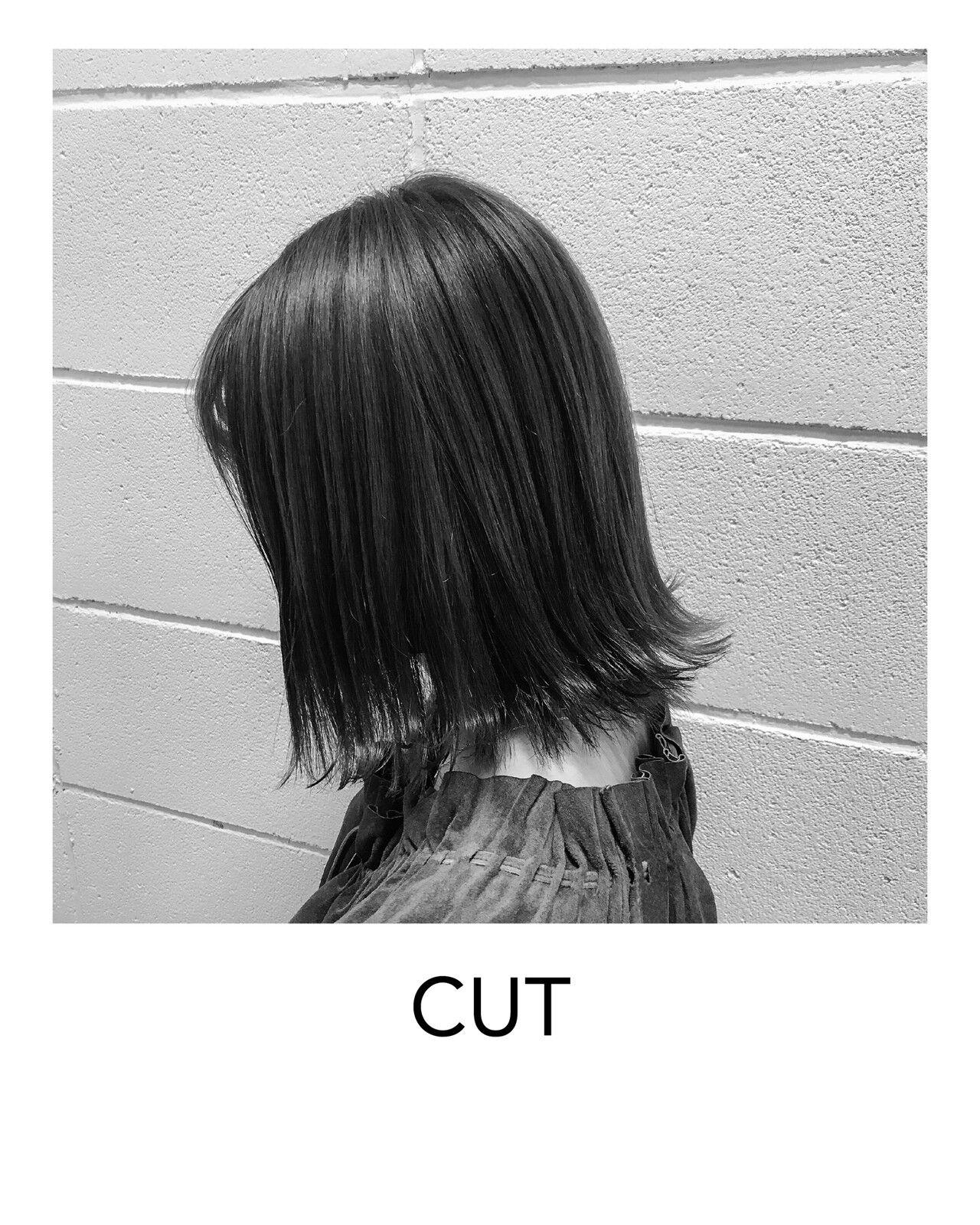 切りっぱなしボブ ストリート 原宿 ボブヘアスタイルや髪型の写真・画像
