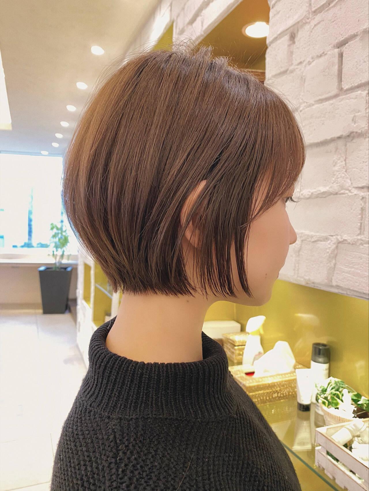 ショート 丸みショート 大人かわいい デートヘアスタイルや髪型の写真・画像