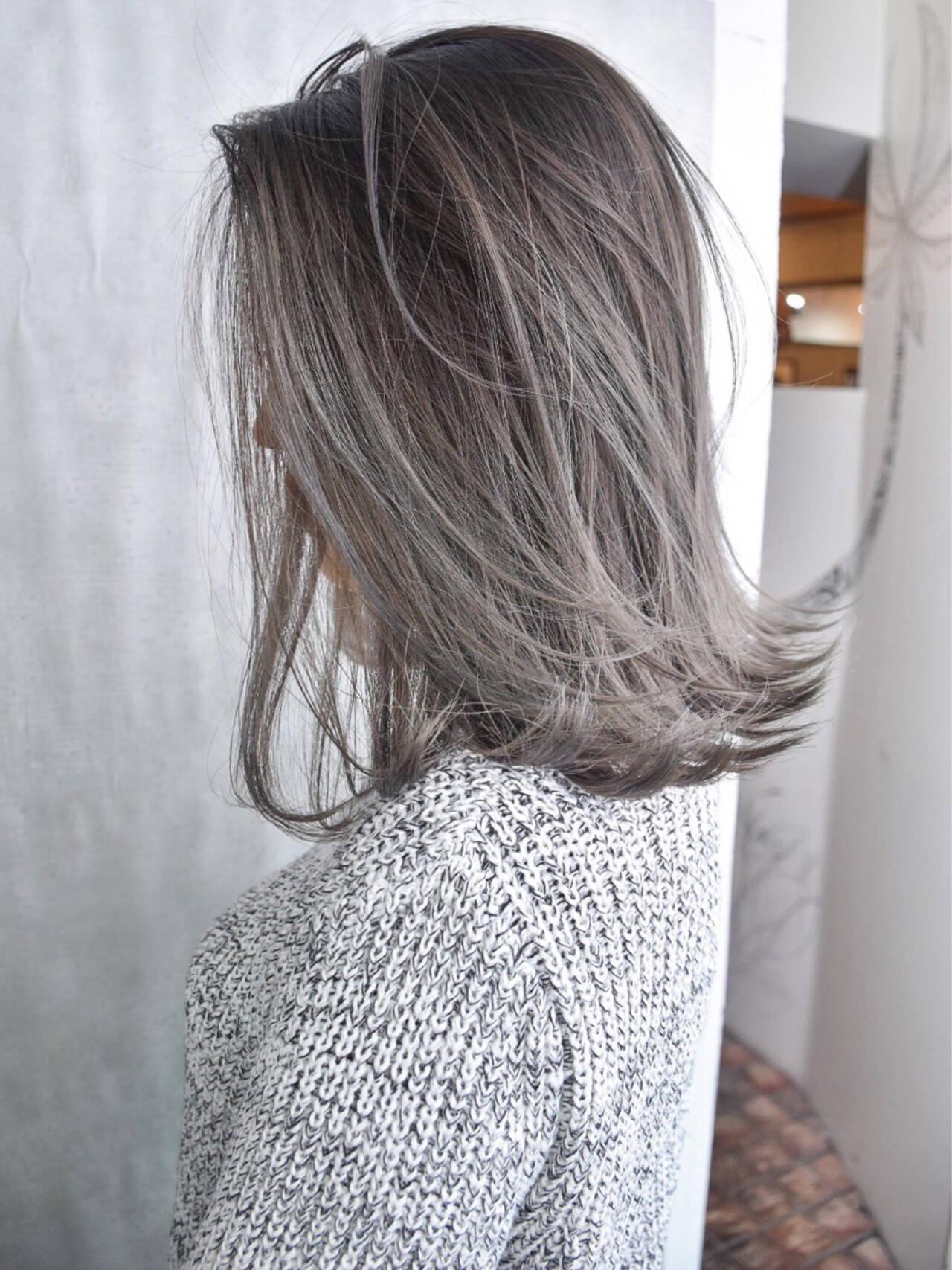 ミディアム 外国人風 外国人風カラー バレイヤージュヘアスタイルや髪型の写真・画像