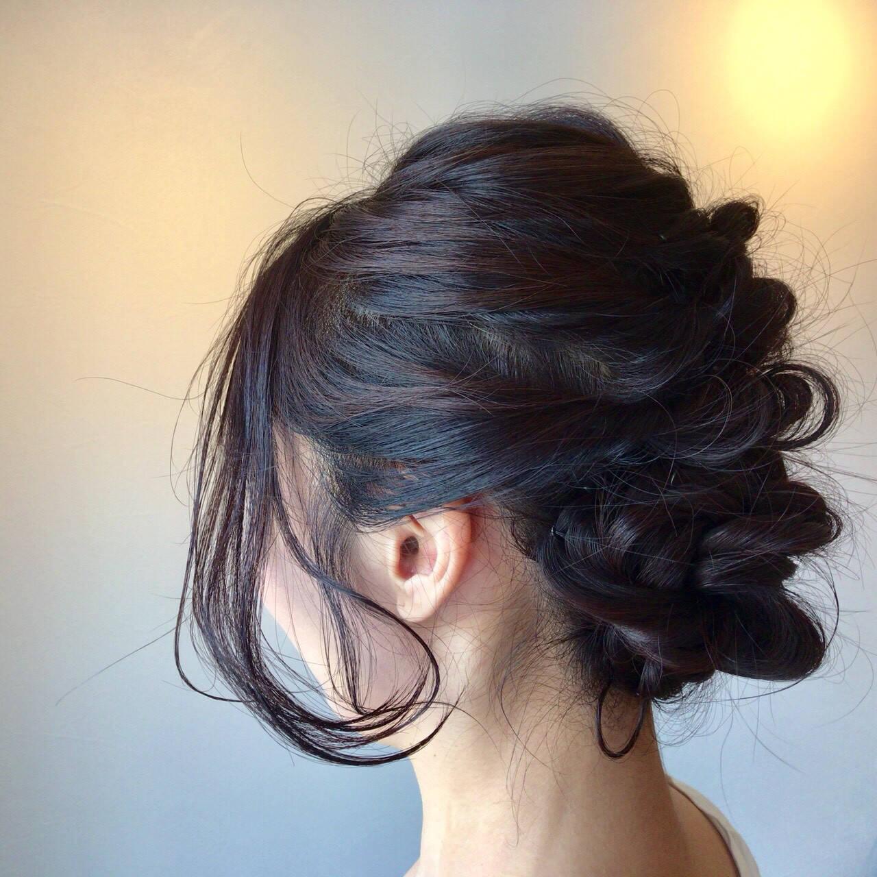 成人式 黒髪 簡単ヘアアレンジ フェミニンヘアスタイルや髪型の写真・画像