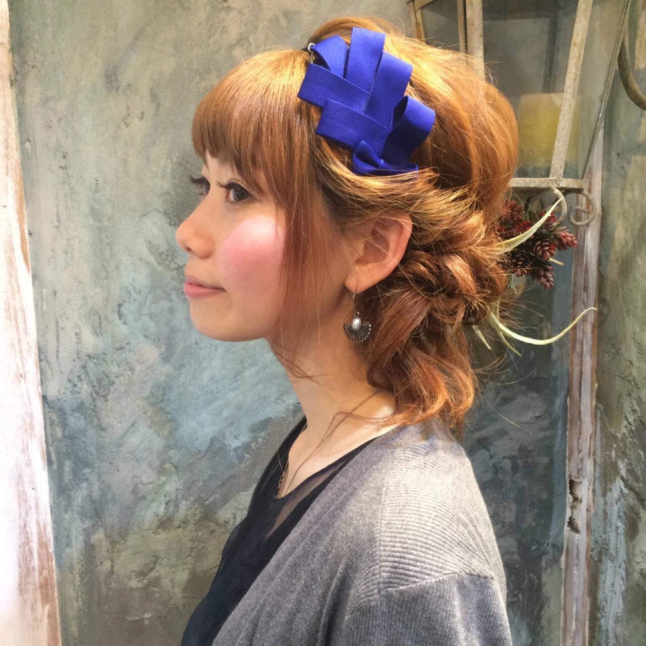 パーマ ハーフアップ ミディアム 簡単ヘアアレンジヘアスタイルや髪型の写真・画像