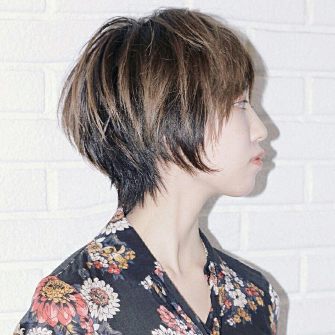 アッシュ マッシュ ニュアンス グラデーションカラーヘアスタイルや髪型の写真・画像