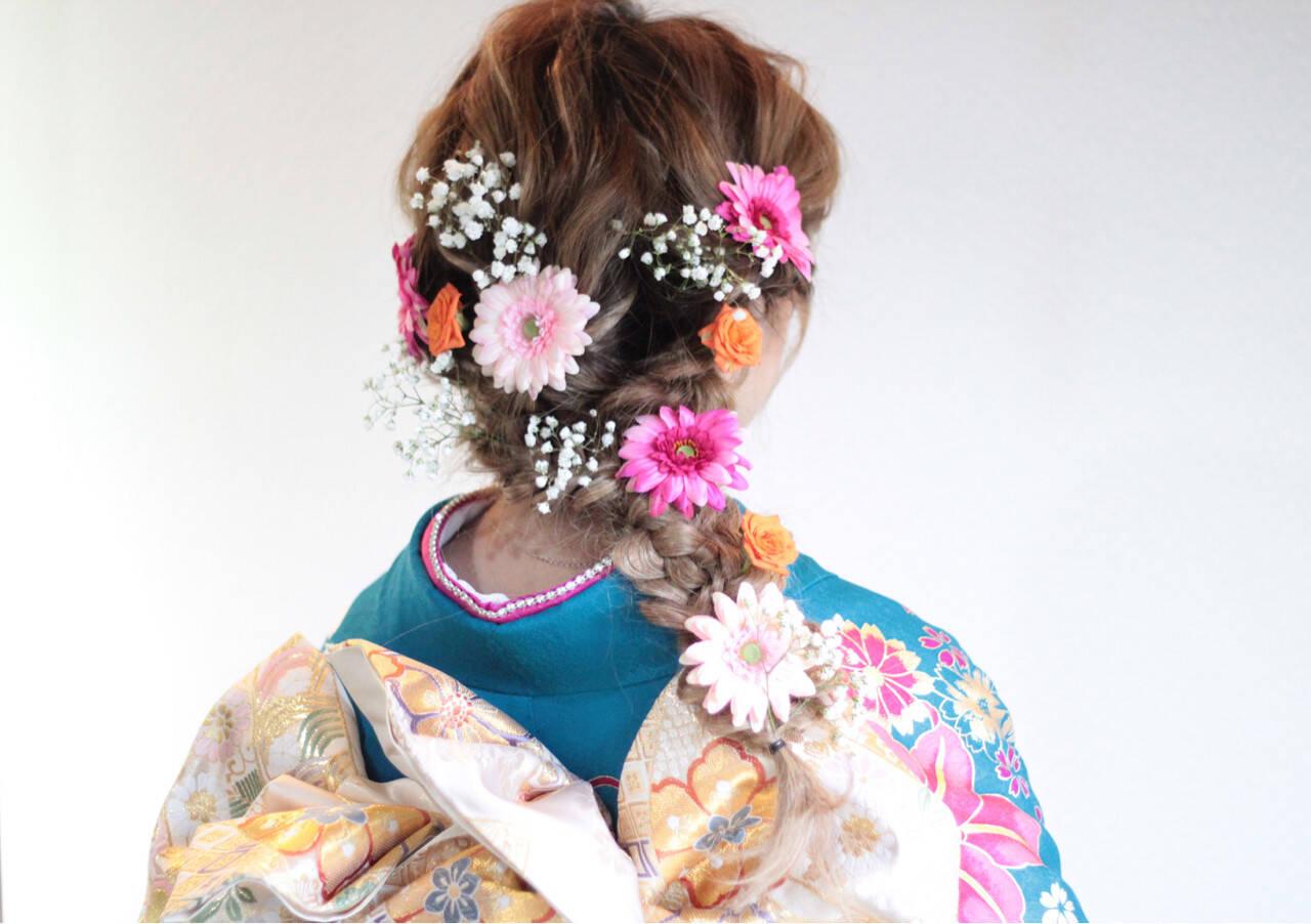 着物 ロング 成人式 編み込みヘアスタイルや髪型の写真・画像