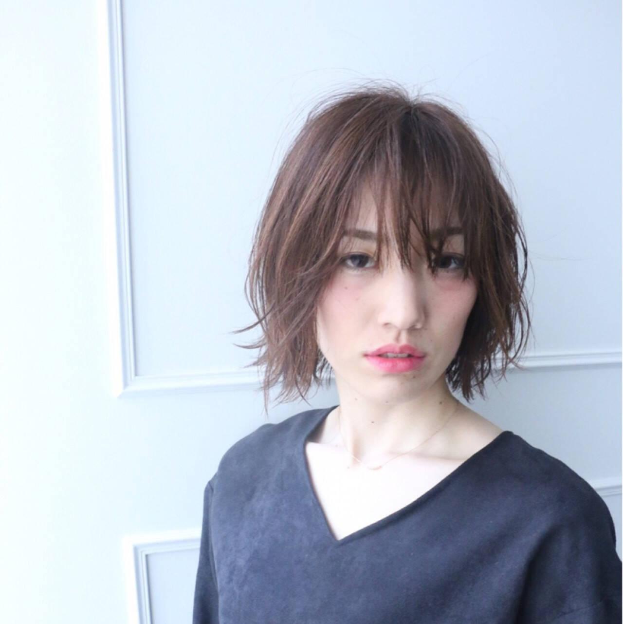 フェミニン ボブ 色気 ニュアンスヘアスタイルや髪型の写真・画像