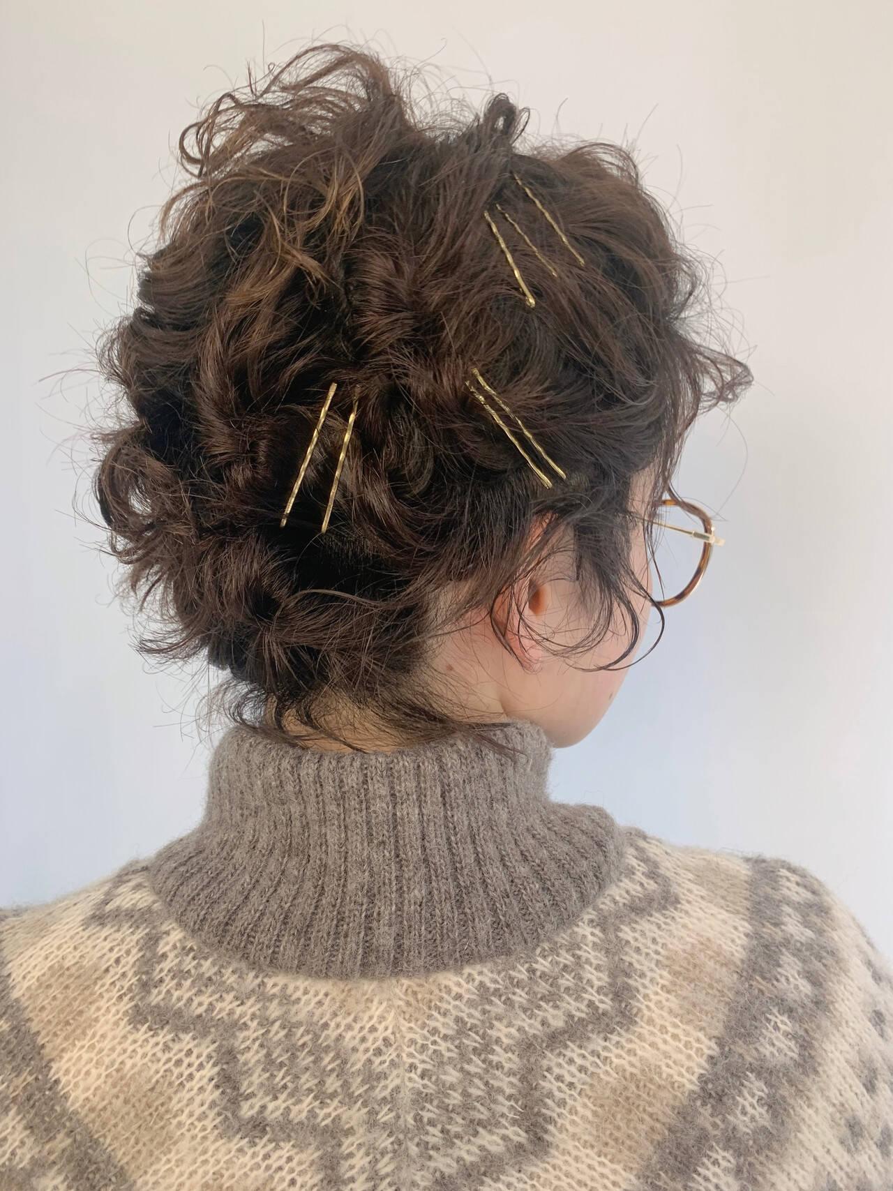 ショート ヘアアレンジ セルフヘアアレンジ くるりんぱヘアスタイルや髪型の写真・画像