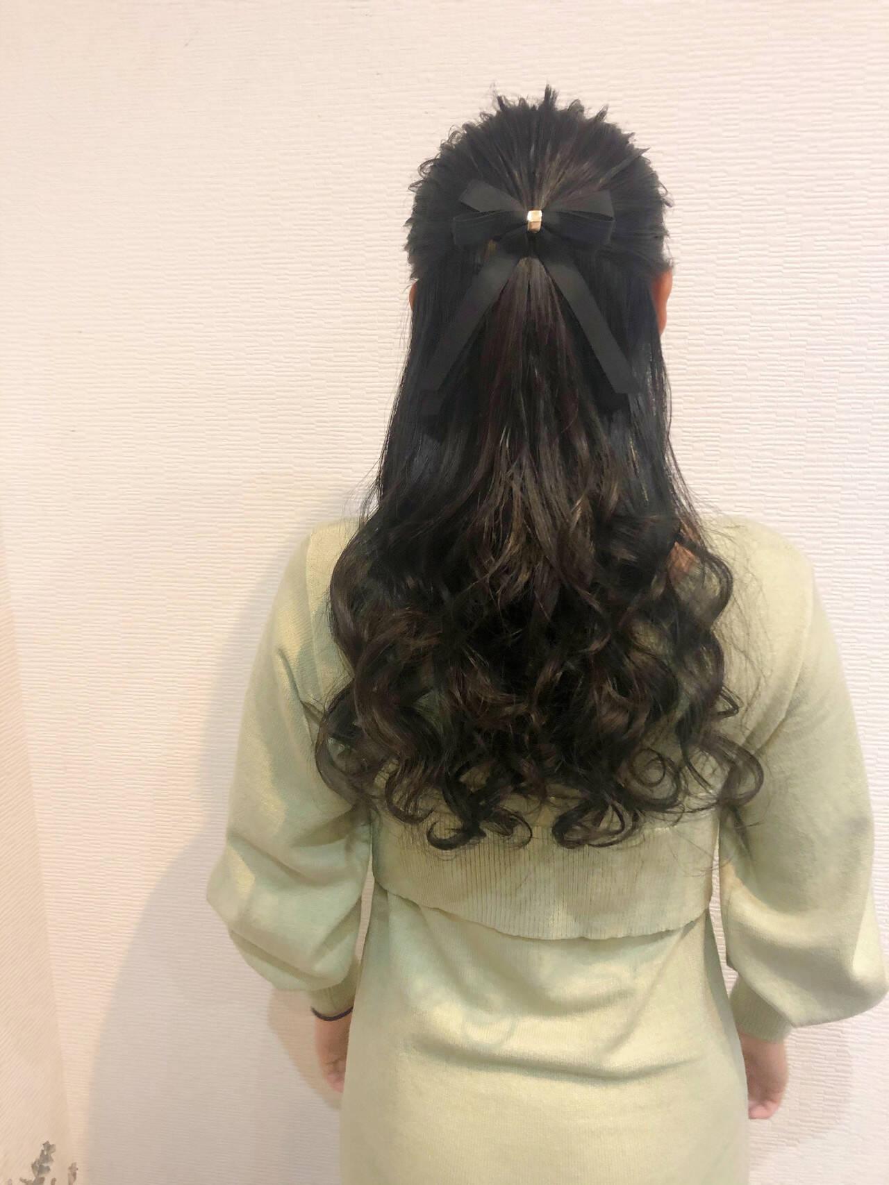 ロング ヘアセット ハーフアップ 結婚式ヘアスタイルや髪型の写真・画像
