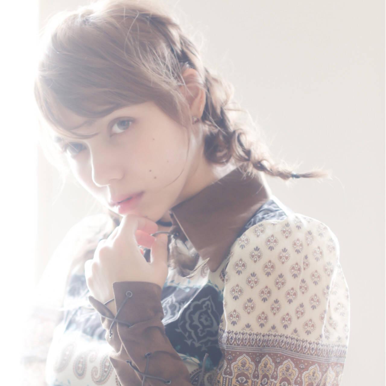 ナチュラル ショート 外国人風 編み込みヘアスタイルや髪型の写真・画像