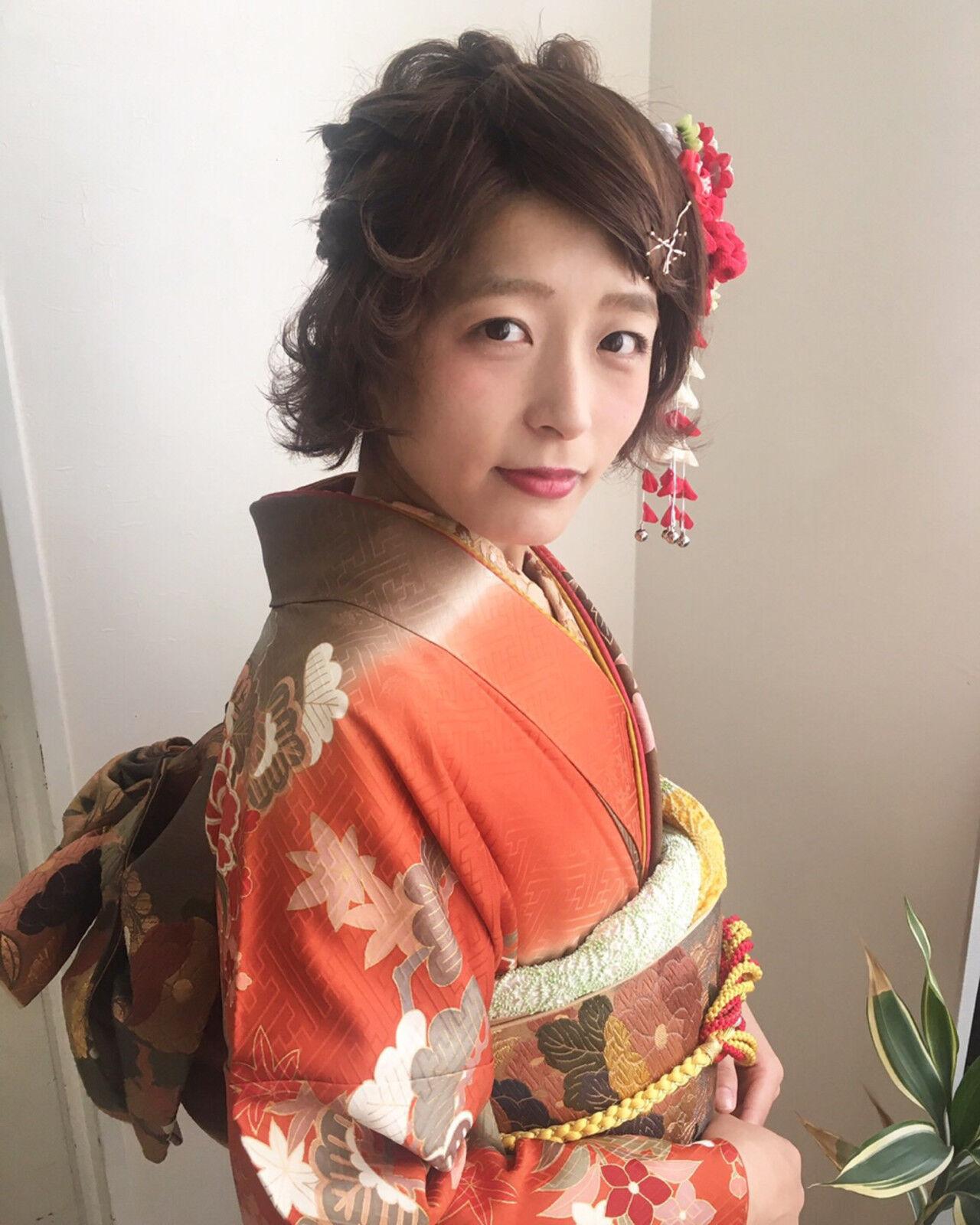 フェミニン 着物 ショート ヘアアレンジヘアスタイルや髪型の写真・画像