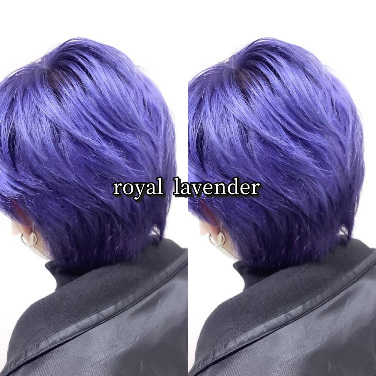 ショート ストリート ブルーラベンダー メンズカラーヘアスタイルや髪型の写真・画像