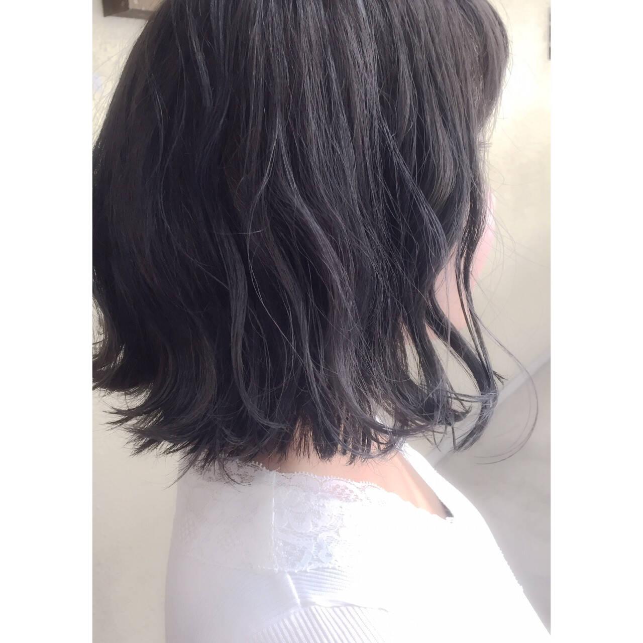 ネイビー ブルー モード 暗髪ヘアスタイルや髪型の写真・画像