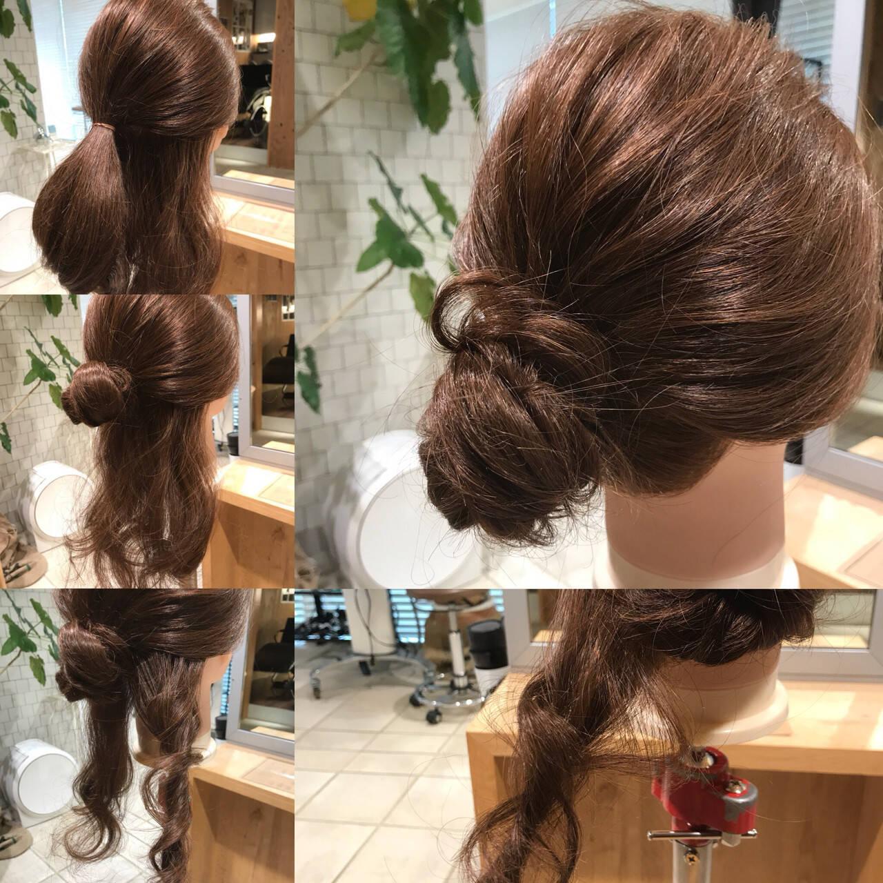 簡単ヘアアレンジ セミロング お団子 ヘアアレンジヘアスタイルや髪型の写真・画像